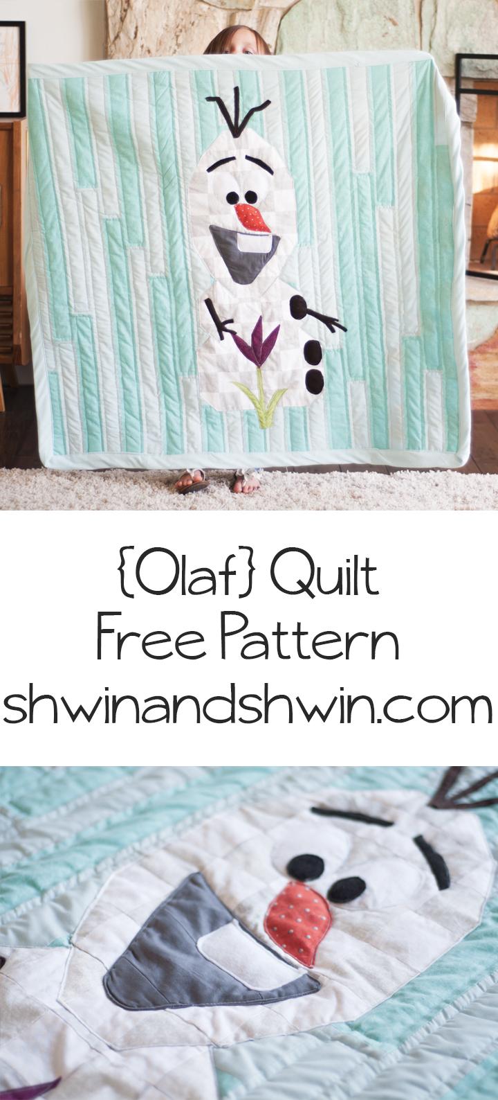Cute Olaf Frozen Quilt Free Pattern and Tutorial Shwin uShwin