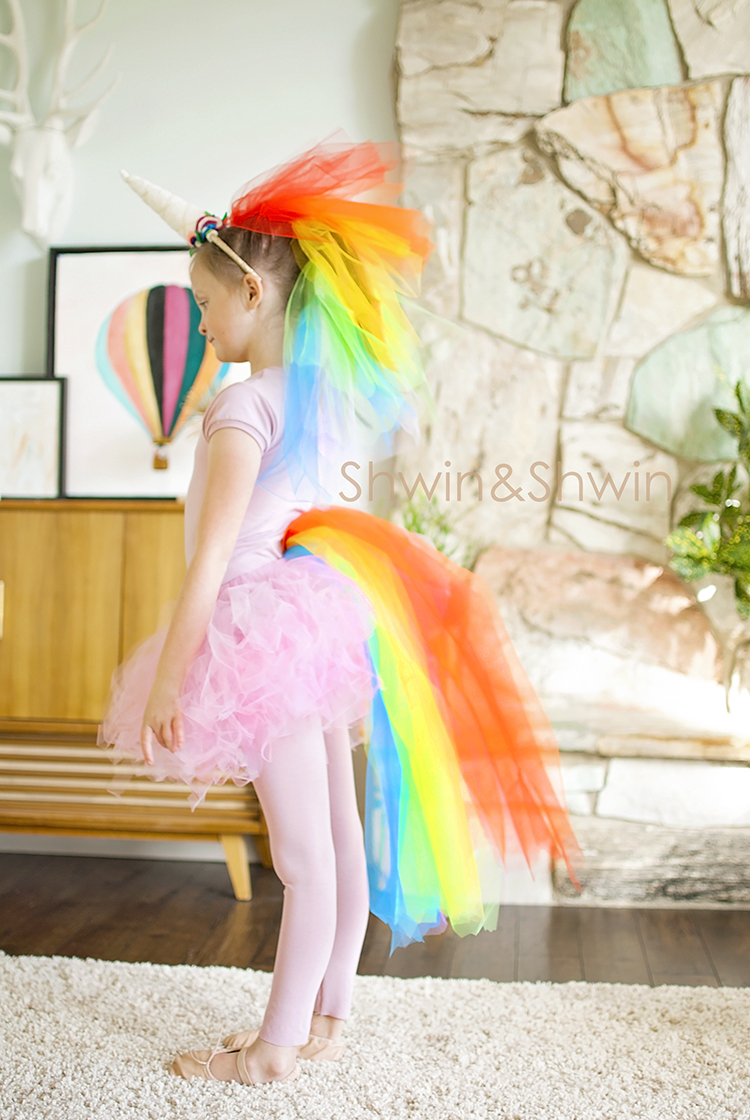 diy rainbow unicorn costume shwin and shwin. Black Bedroom Furniture Sets. Home Design Ideas
