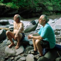 Shruti Ram and Shyamdas, devotional compadres and Neem Karoli Baba devotees from long back, enjoying a moment together at the river