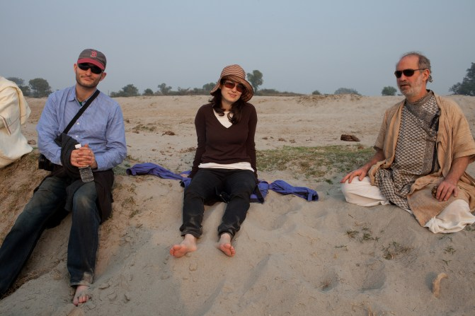 On the Yamuna River banks with daughter, Hannah and her husband Andrew. December 26, 2009