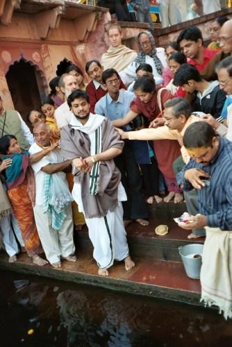 taking niyam at Yamunaji