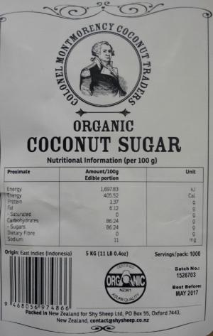 Coconut Sugar Colonel Montmorency 5kg label scan