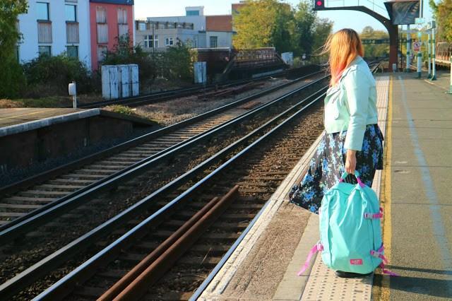 Kariss waiting for a train