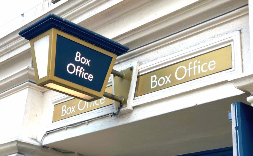 lion king box office sign to show Theatre During Social Distancing