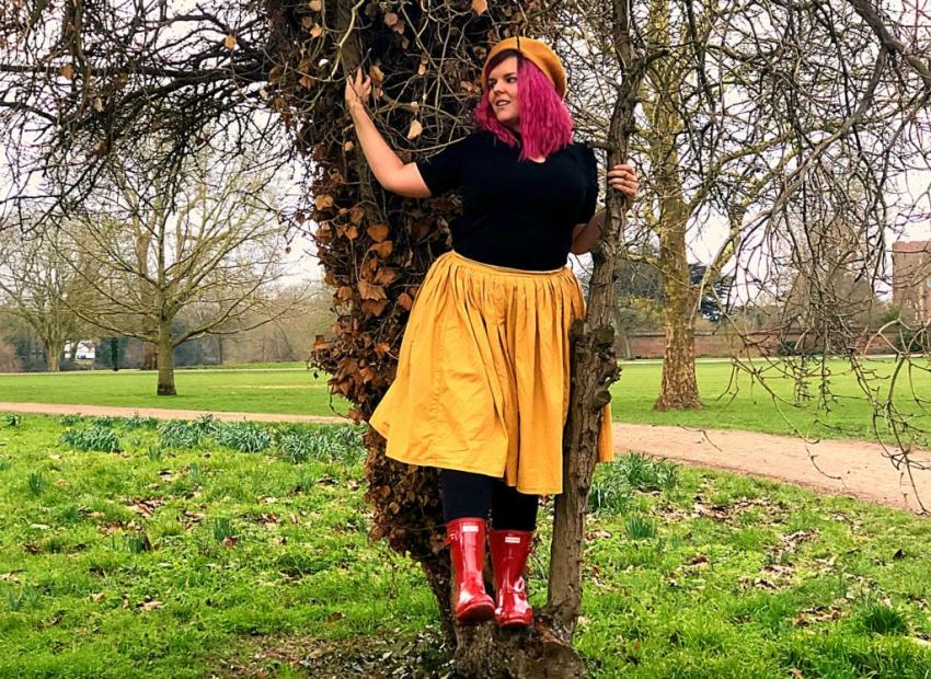 women with pink hair in tree