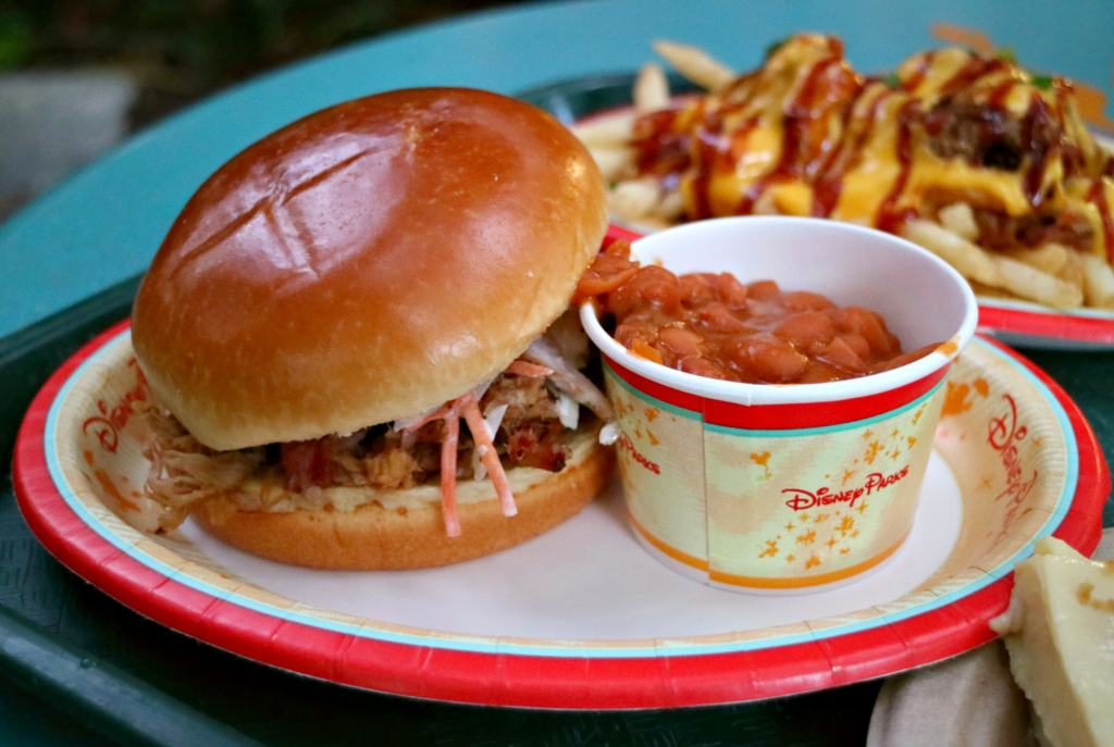 Pulled Pork sandwich at the Flame Tree BBQ, one of Disney Worlds Quick Service Restaurants