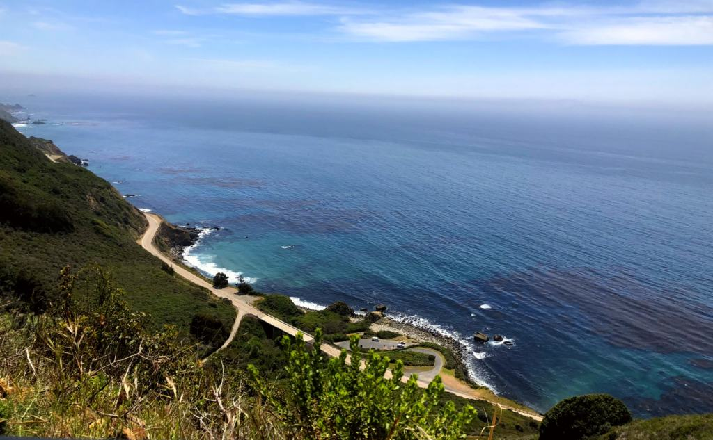 sea and road of big sur from a mountain on the Pacific Coast Highway