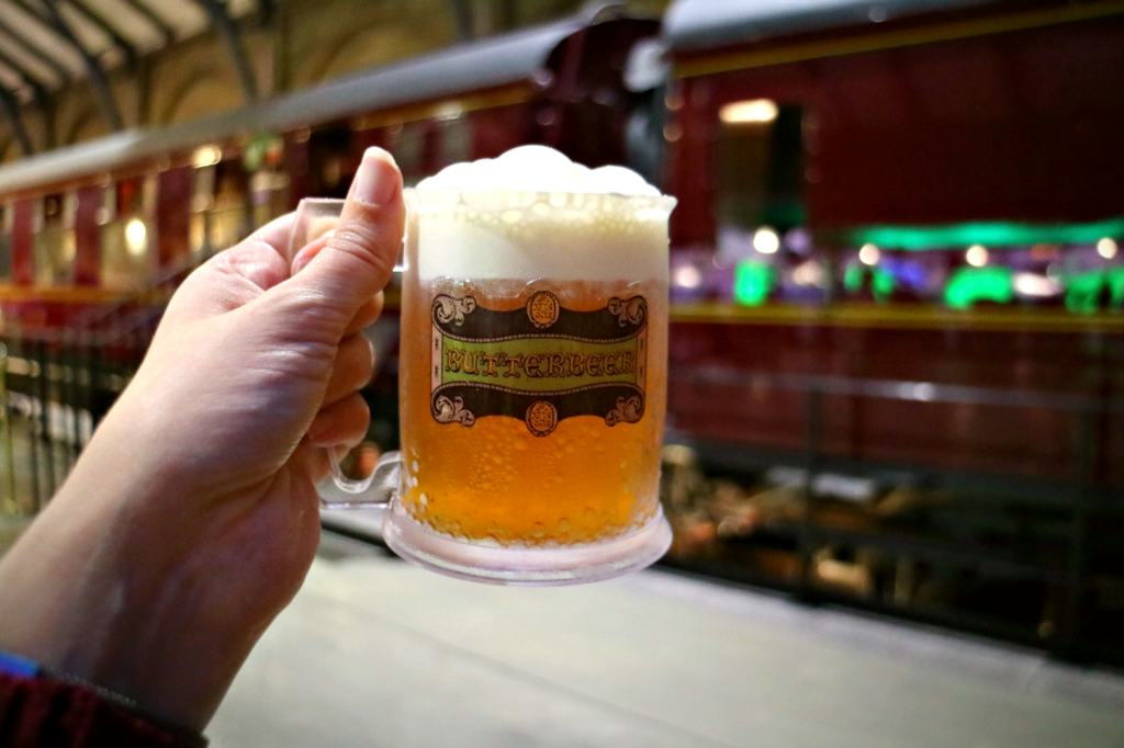 Butterbeer on front of the hogwarts express in the Warner Bros. Studio tour