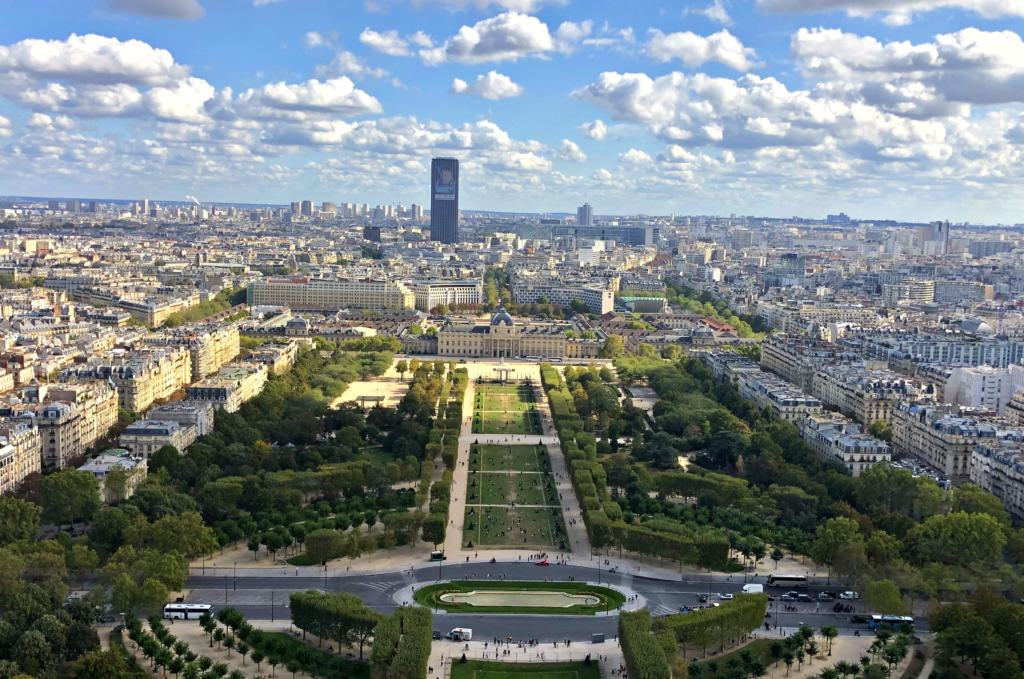 View from the top of the tower on the eiffel tower tour