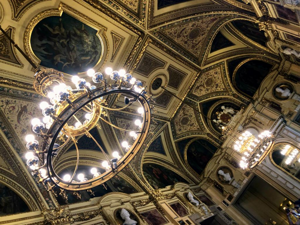 A state room ceiling in the Vienna Opera House tour