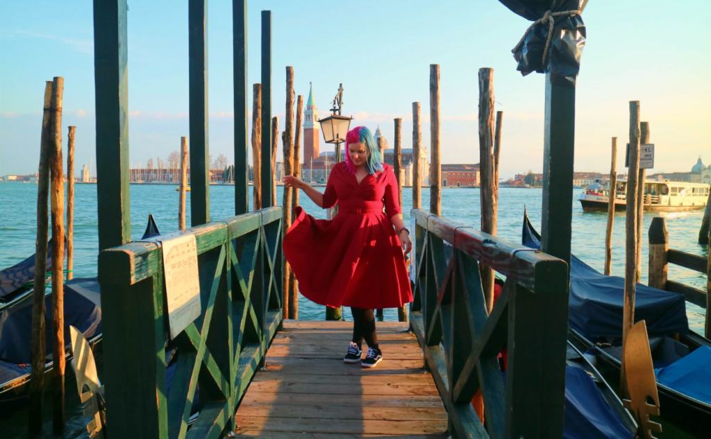Kariss on a jetty in venice during the coronavirus outbreak