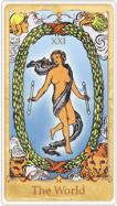 La carta dei tarocchi del mondo basata su Rider-Waite