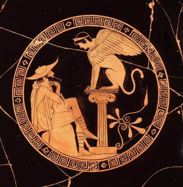 This kylix, or cup, of the Painter of Oedipus began the hunt for messages hidden below the surface of some ancient Greek pottery.