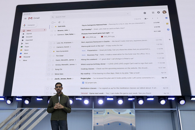 Google CEO Sundar Pichai spoke about Gmail features at a Google conference in May.