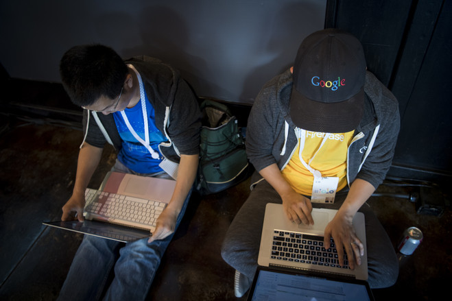 Attendees worked on their laptops during the annual Google I/O Developers Conference in May.