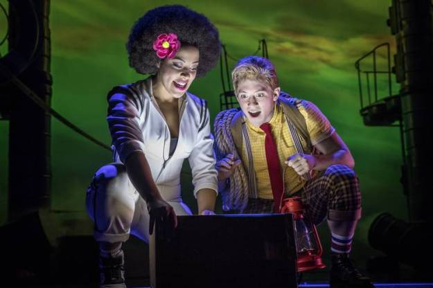 Lilli Cooper as Sandy Cheeks, left, and Ethan Slater as SpongeBob in 'SpongeBob SquarePants: The Broadway Musical.'