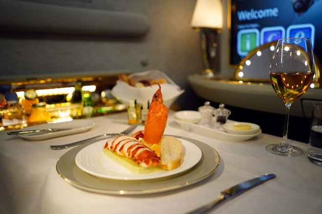 A lobster dish for first-class passengers.