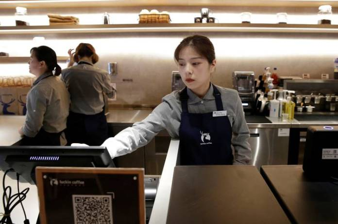 Luckin Coffee, which launched in January and already has a value north of $1 billion, remains unprofitable and has been spending furiously to open 2,000-plus outlets and lure in customers. Here, a Luckin shop in Beijing this past summer.
