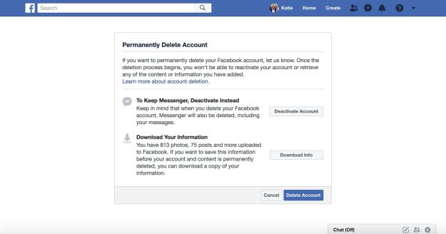 When you go to delete your Facebook account, the company suggests deactivation instead—dormancy rather than death. If your account is only deactivated, you can still use Facebook Messenger.