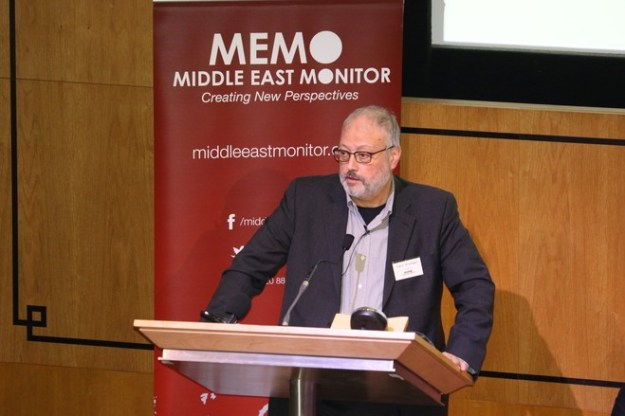 Jamal Khashoggi speaking at an event hosted by Middle East Monitor in London on Sept. 29, days before he went missing in the Saudi consulate.