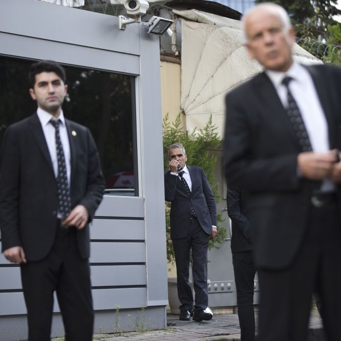 Security personnel at Saudi Arabia's consulate in Istanbul on Friday.