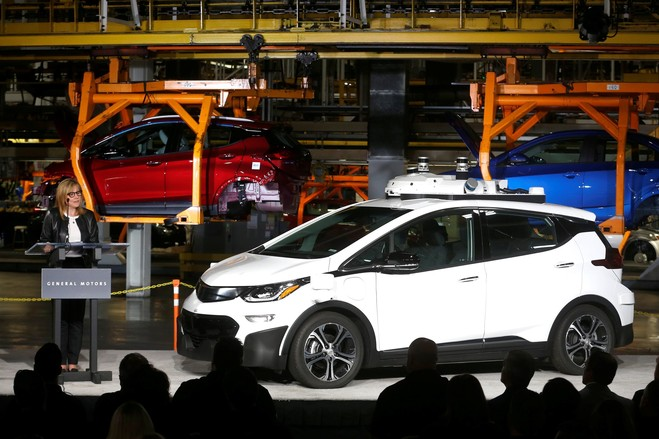 General Motors Chief Executive Mary Barra with a Chevrolet Bolt at GM's Orion Assembly plant in Orion, Mich., last year.