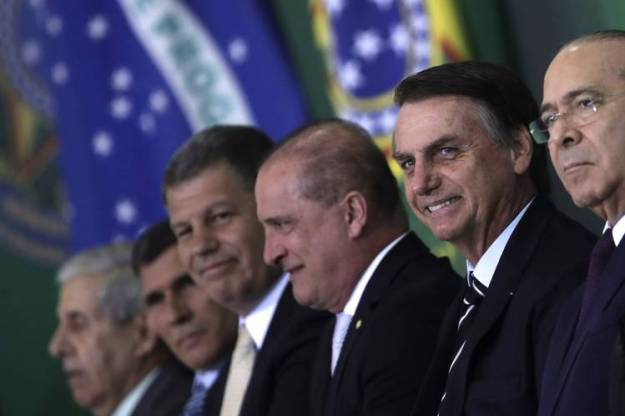 Brazilian President Jair Bolsonaro presented members of his cabinet during a ceremony at the presidential palace in Brasilía on Wednesday.