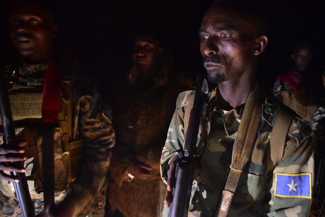 The Somali unit, known as Danab, or 'Lightning,' on a night-time training mission.