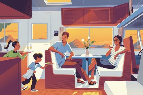 A PICNIC IN PARK With full-size refrigerators, stoves and sinks, traveling families can prep their own meals on the go ILLUSTRATION: STEVE SCOTT