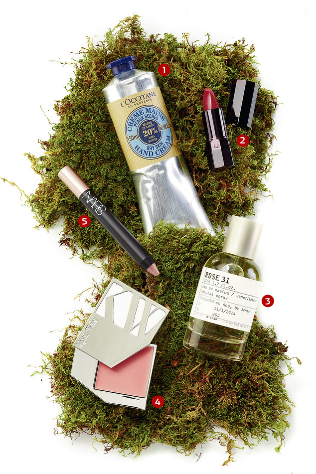 WASTE NOT | Products that aren't necessarily 'green' but are packaged in an eco-conscious way. 1. Shea Butter Hand Cream, $28 for 5.2 oz., L'Occitane, 212-722-5141 2. Lipstick in Mise à Mort, $75 for lipstick ($60 for refill), us.sergelutens.com 3. Rose 31 Perfume, $160 for 1.7 oz., lelabofragrances.com 4. Cream Blush in Blossoming, $56, kjaerweis.com 5. Soft Touch Shadow Pencil in Iraklion, $25, narscomestics.com