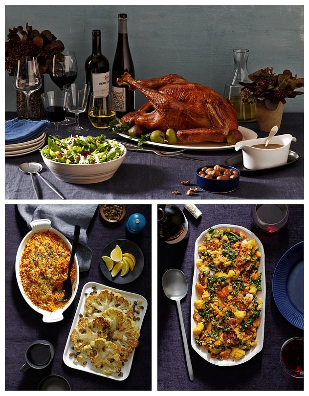 Clockwise from top: Dry-Brined Roast Turkey, Cornbread Stuffing With Wilted Greens and Chorizo, Caramelized Cauliflower Steaks With Crisped Capers, Cardamom-Spiced Sweet Potato Gratin