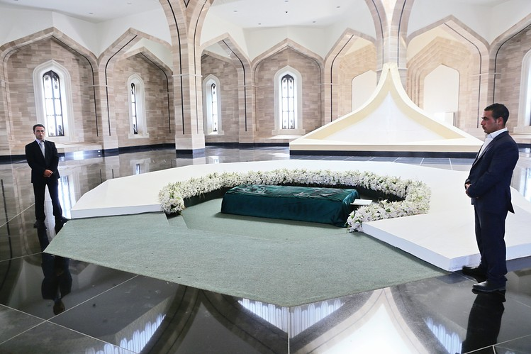 The casket bearing the remains of Hafez al-Assad, the founder of the modern Syrian regime and the father of the current president, inside a mausoleum in al-Qardaha, Syria.