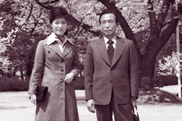 A Yonhap file photo dated 1974 showing Park Geun-hye, left, posing with her father, then-President Park Chung-hee, when she became acting first lady at 22 after her mother was shot to death by a North Korean agent in an attempted assassination of her husband. PHOTO: EUROPEAN PRESSPHOTO AGENCY