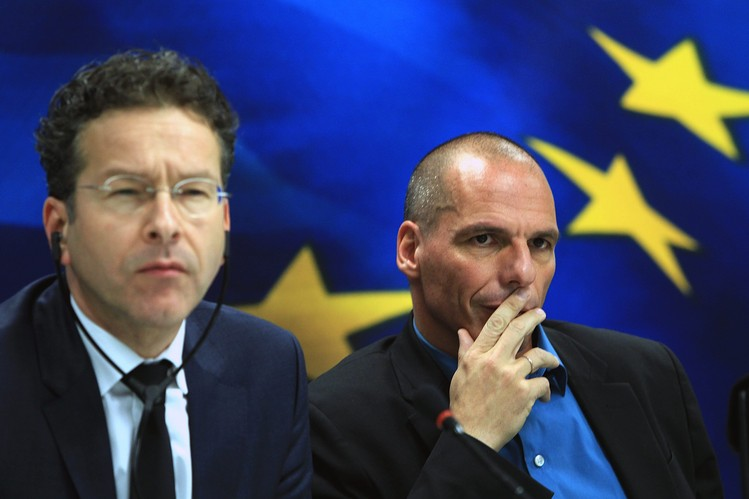 Eurogroup chief Jeroen Dijsselbloem, left, and Greek Finance Minister Yanis Varoufakis will meet Wednesday to discuss Greece's bailout program with other eurozone finance ministers.