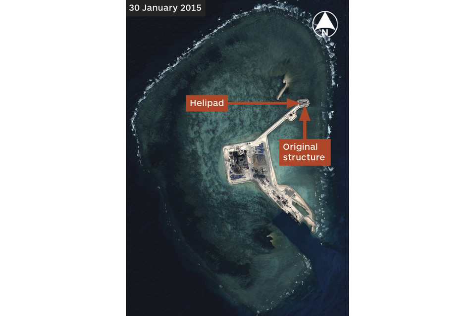 An image from January shows China's artificial island at Gaven Reefs linked by a causeway to the original installation.