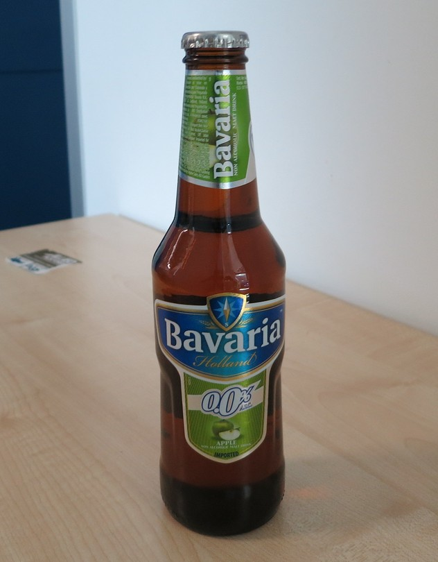 Bavaria 0.0% ALC. nonalcoholic malt drink. The shape of the bottle resembles a beer bottle. That is a turnoff for some Muslims.