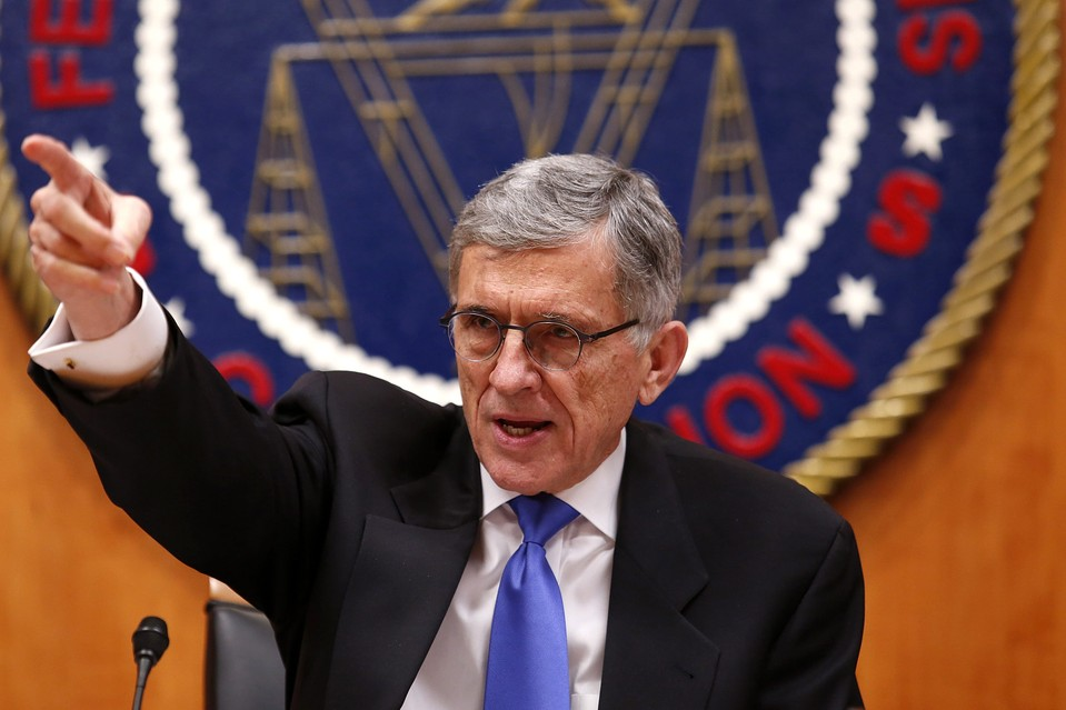 Federal Communications Commission Chairman Tom Wheeler gestures at the FCC Net Neutrality hearing in Washington February 26, 2015.