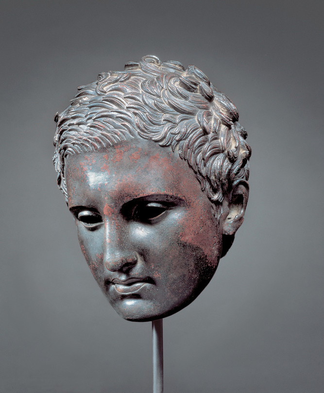 'Head of athlete,' second century B.C.-first century A.D, Fort Worth, Kimbell Art Museum. | Remarkably well preserved--it may be one of the few ancient bronzes that was never buried.