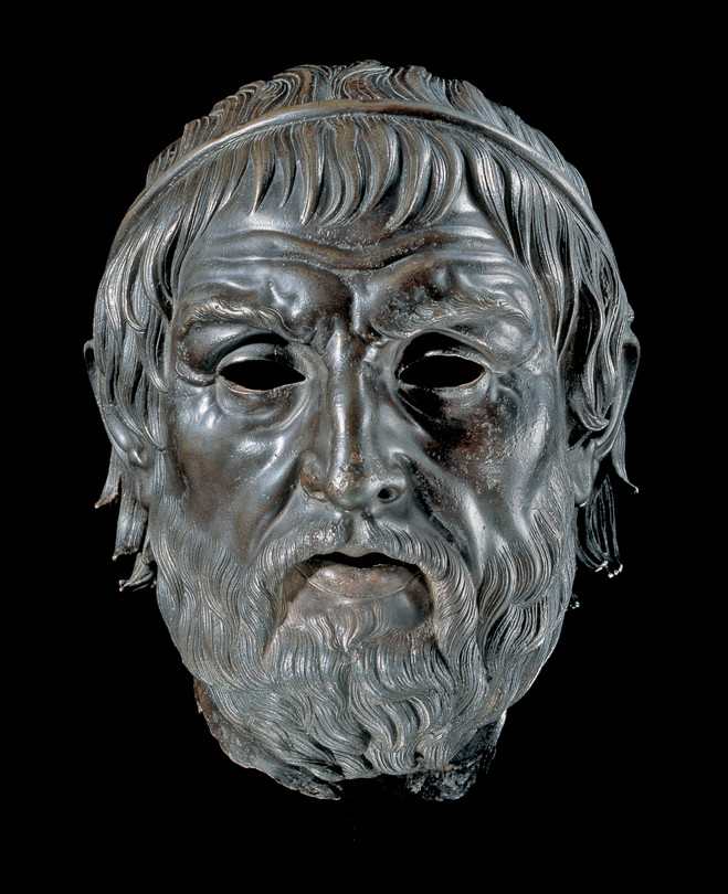 'Portrait of a poet (Aruendel head),' second or first century B.C., London, British Museum. | An arresting portrait of an old man, concentrating intensely.