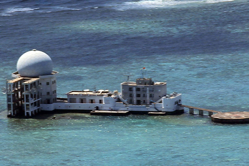 This handout photo by Philippine military western command shows newly-constructed radar dome on Chinese-controlled Subi Reef, around 15 nautical miles northwest of the Philippine-controlled Pag-asa islands on the disputed Spratly islands in 2012.