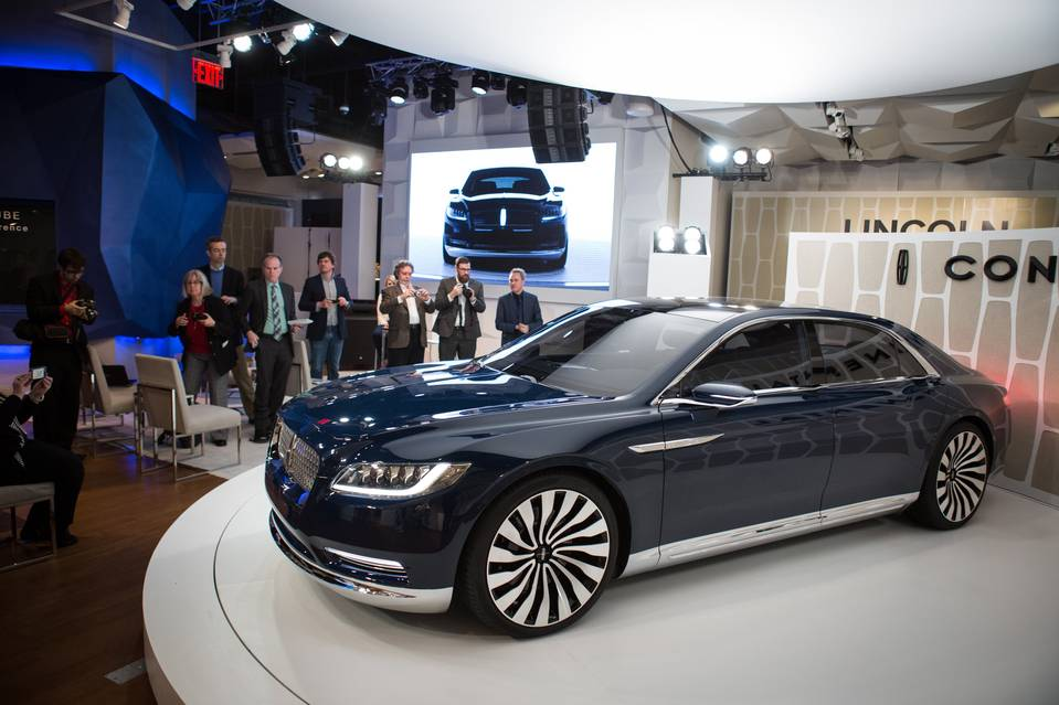 Ford showed its new Continental concept car to journalists on Sunday before the New York Auto Show.