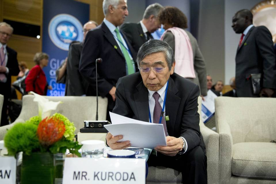 Haruhiko Kuroda, governor of Japan's central bank, at the International Monetary Fund and World Bank spring meetings in Washington last month.