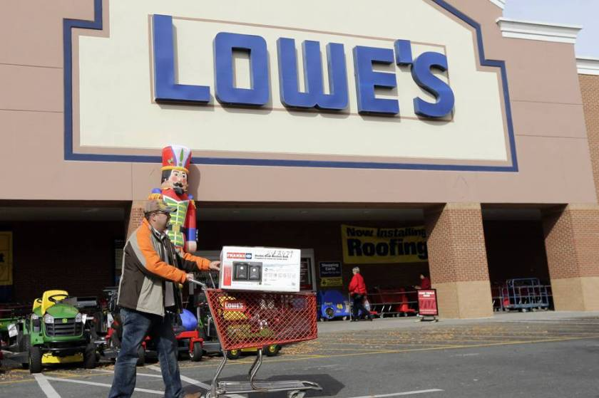 A North Carolina Lowe's store is seen in November. The retailer's shares have risen 61% over the past year.