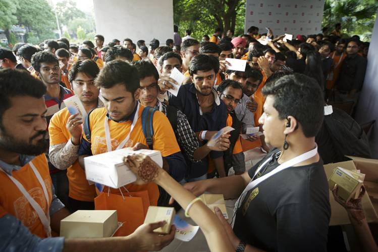 Attendees line up at a Xiaomi smartphone launch event in April in India, Xiaomi's biggest export market.