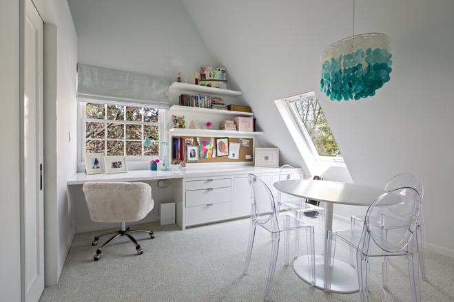 Originally the architects had suggested the guest bedroom go on the third floor, but the Perriellos loved the space and wanted it for their daughter Olivia's room.