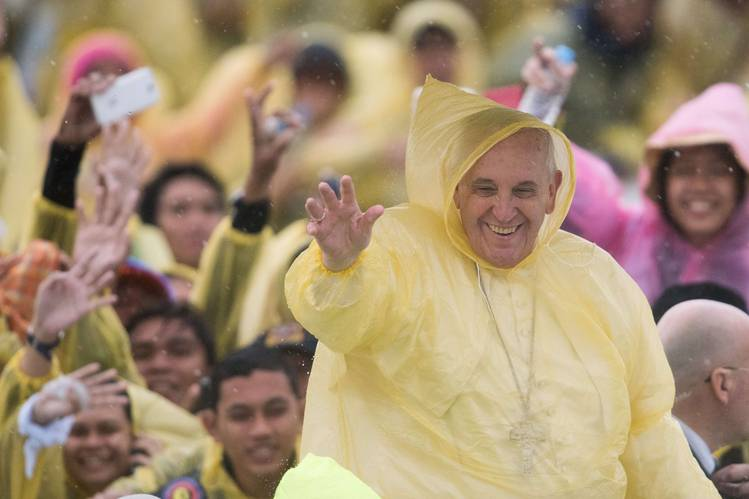 Pope Francis after a mass in Tacloban in the Philippines in January.