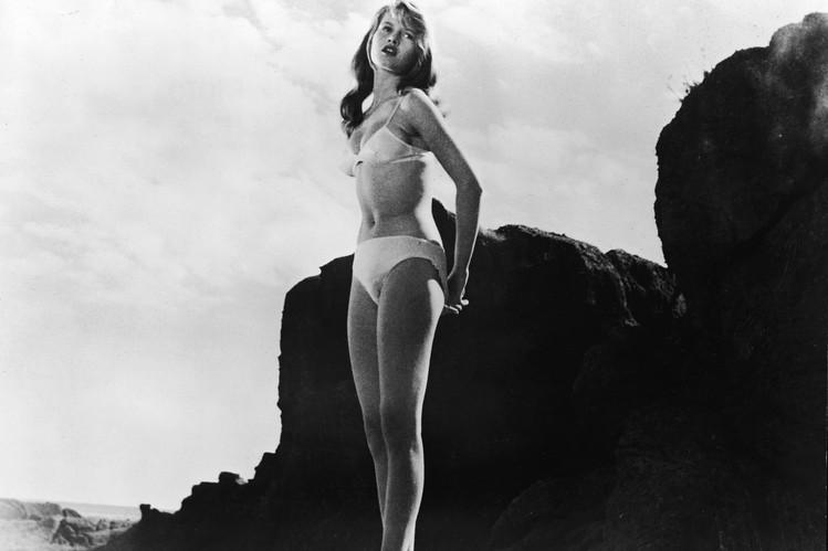 "Actress Brigitte Bardot in 1958 in a still from the film, ""The Girl in the Bikini."""