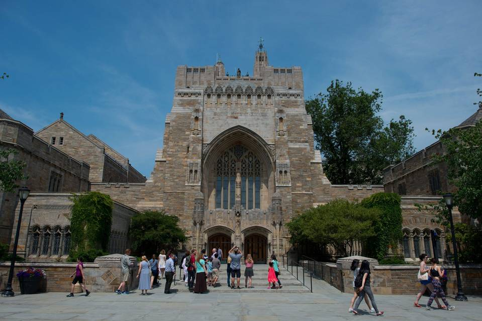 A tour group at the Sterling Memorial Library on Yale University's campus in New Haven, Conn., earlier this summer.