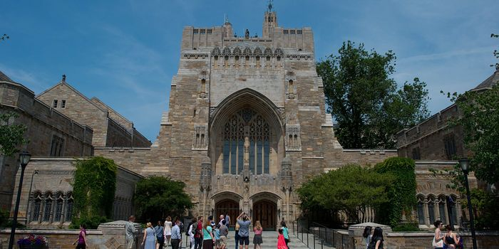 The Sterling Memorial Library on the Yale University campus in New Haven, Conn.