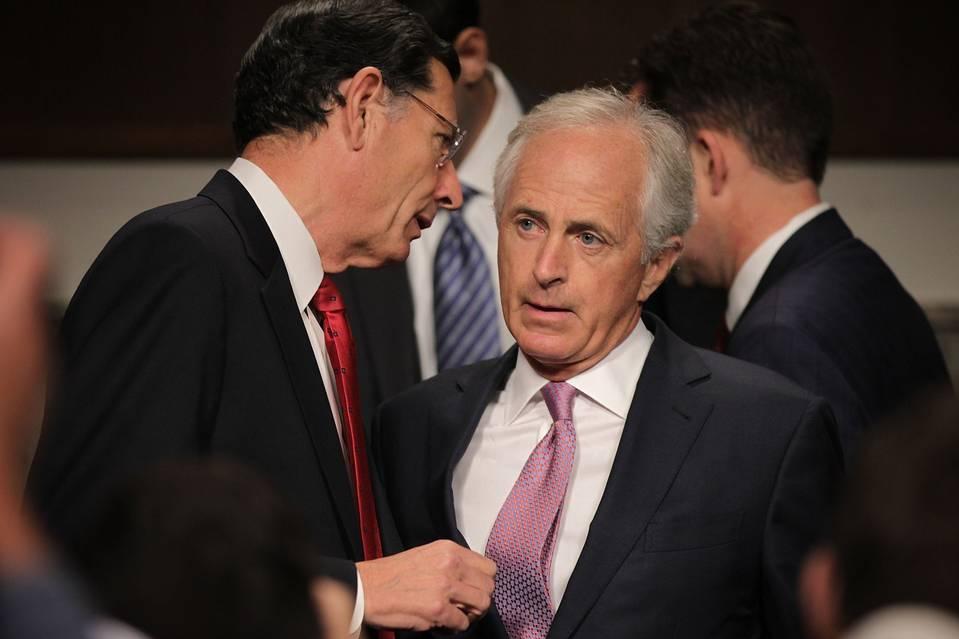 Senate Foreign Relations Committee Chairman Bob Corker (R., Tenn.), right, listens to Sen. John Barrasso (R., Wyo.) last month in Washington, D.C.